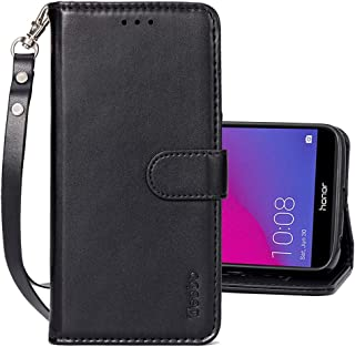 Teebo Wallet Flip Cases for Huawei Honor 7A, PU Leather Magnetic Closure Wallet Phone Cases [Kickstand Feature] with Card Slots Wrist Strip Phone Covers for Huawei Honor 7A-Black