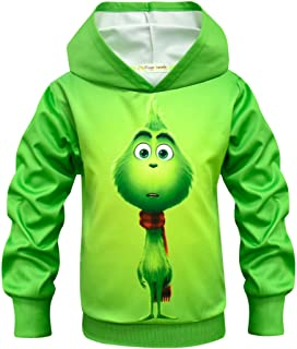 Thombase Funny Fancy Boys' Hoodies Christmas Grinch Cartoon Monkey 3D Prints Pullover Long Sleeve T-Shirts for Kids 4-11 Y...