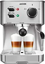 AICOK Espresso Machine, Cappuccino Coffee Maker with Milk Steamer Frother, 15 Bar Pump..