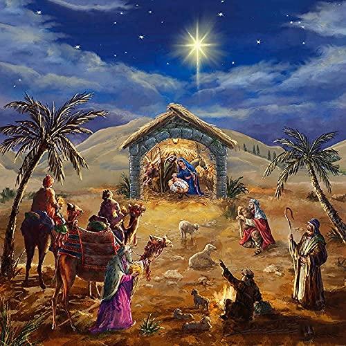 JONJUMP Mosaico de punto de cruz con bordado de paisaje religioso 5D pintura El nacimiento de Jesús Decoración Home Square 40x40cm