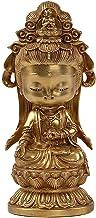 Solid Pure Copper Avalokitesvara Buddha Statue, Handmade Copper Buddha Tea Pet Small Ornaments, Living Room/Office Sculptu...