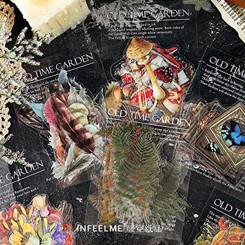 GOTH Perhk 240 pegatinas de flores botánicas para scrapbook de diseño vintage para manualidades, álbumes de recortes, diarios, planificadores, manualidades, diario