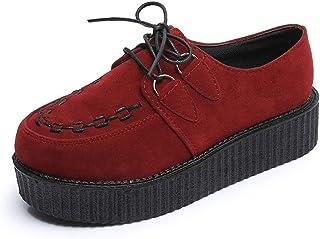 176ffa880f294f Femmes Creepers Plateforme Chaussures Automne À Lacets Flock Femme Talon  Épais Casual Pompes Fleur Mocassins Plats