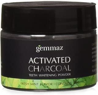 Charcoal Teeth Whitening Powder, Organic Coconut Activated Charcoal Teeth Whitening, Enamel Safe Teeth Whitener for Sensitive Teeth Gums, Fresh Mint Flavor by Gemmaz (30g)