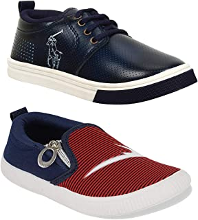 WORLD WEAR FOOTWEAR Multicolor-Combo-(2)-1101-11059 Top Best Rates Cricket Shoes,Casual Shoes,Loafers Shoes Comfortable for Kids & Boys's