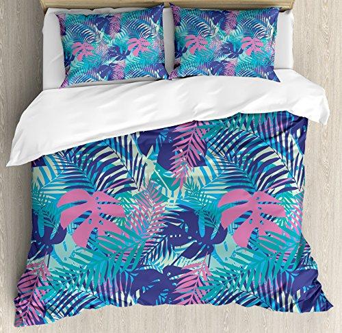 Feuille de couette par Ambesonne, Digital Neon Couleurs Island Oceanic Fleurs et feuilles décoratifs, Parure de lit avec oreillers, Rose turquoise bleu foncé et violet, Tissu, Multicolore 1, King