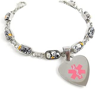 Pre-Engraved & Customized Blood Type O Charm Medical Bracelet, Black/White Millefiori Glass