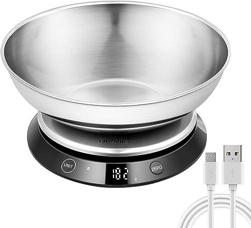 Balance de cuisine numérique étanche, rechargeable par USB, en acier inoxydable avec bol amovible, 5 kg, bouton tacti...