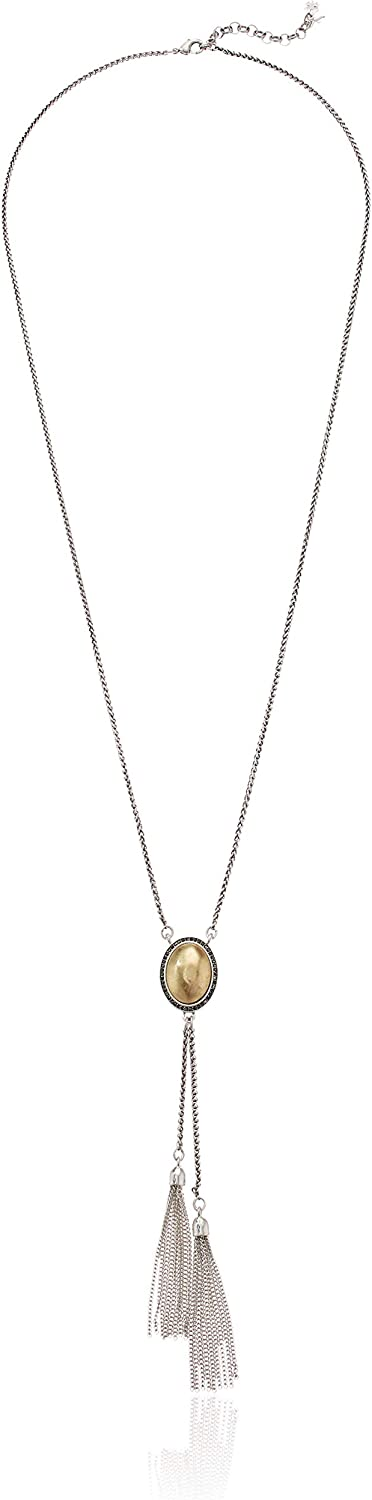 Lucky Brand Women's Pave Fringe Lariat Necklace, Two Tone, One Size