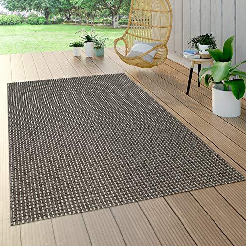 Paco Home In- & Outdoor Flachgewebe Teppich Sisal Optik Natürlicher Look Uni Anthrazit, Grösse:120x170 cm