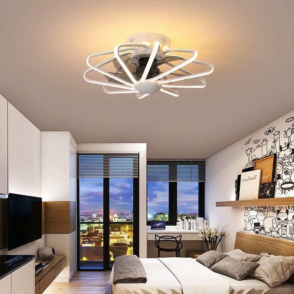 Ventilador de techo invisible con luz, control remoto, cambio tricolor, luz del ventilador del hogar, candelabro LED con ventilador de iluminación integrado para sala de estar, diámetro 58 cm