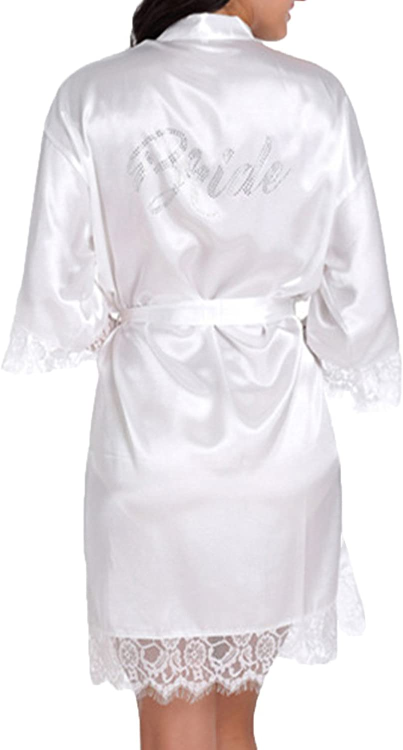 Lace Wedding Robes For Bridal Party Silk Bride Robes White color