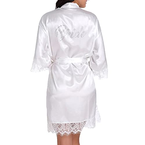 ae9aaa02de WPFING Women Bride Robes White Lace Bridesmaid Robes Bridal Party Robes  Satin Rhinestone