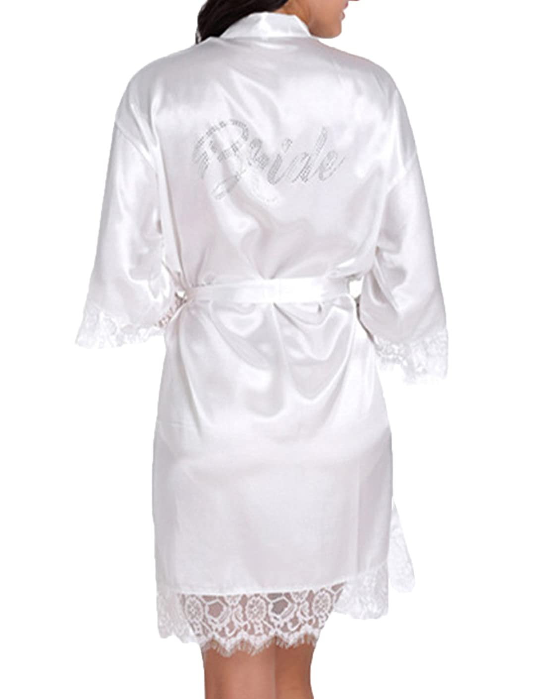 Bride Robes White Lace Bridal Party Robes Rhinestone Satin for Women