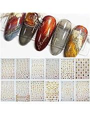 EBANKU 12 Hojas Pegatinas de Uñas de Letras 3D Oro Plata Pegatinas de Arte Uñas Adhesivas Alfabeto Inglés Antiguo Calcomanías de Uñas Manicura Decoración