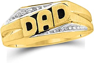 Dazzlingrock Collection 0.01 Carat (ctw) 10K Yellow Gold Round White Diamond Men's DAD Ring