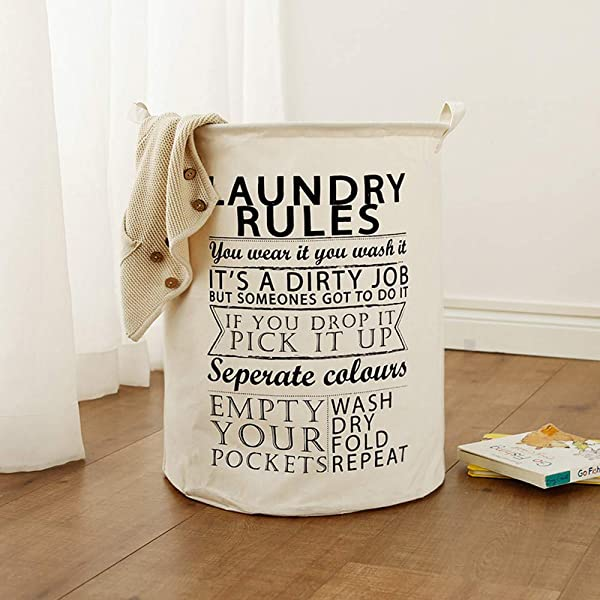SUJING Laundry Basket Laundry Foldable Large Hamper Cylinder Collapsible Kids For Clothes And Toys Organizer Storage Clothes Holder Laundry Bag A