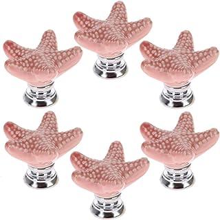 SCTD Starfish Ceramic Drawer Pulls Handles for Nursery Dresser Cupboard Wardrobe Cabinet Kitchen, Beach/Ocean Theme Knobs,...