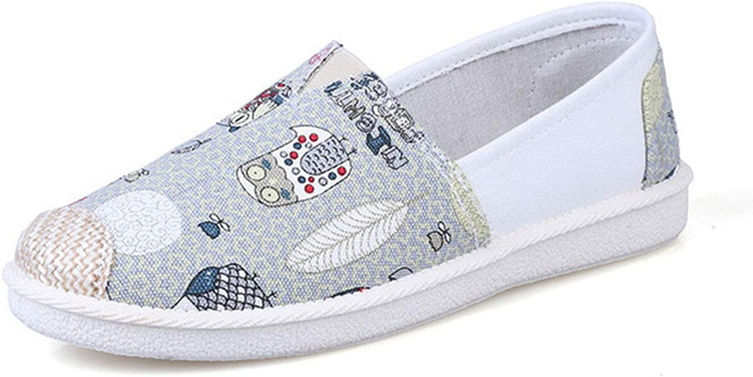 York Zhu Women Loafers shoes ,Shallow Comfortable Canvas Slip-On Casual Flats