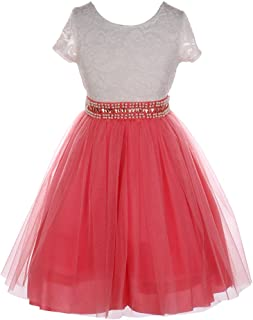 a5b04bd93e2 Little Girls Coral Lace Shiny Tulle Stone Adorned Belt Flower Girl Dress 2-6