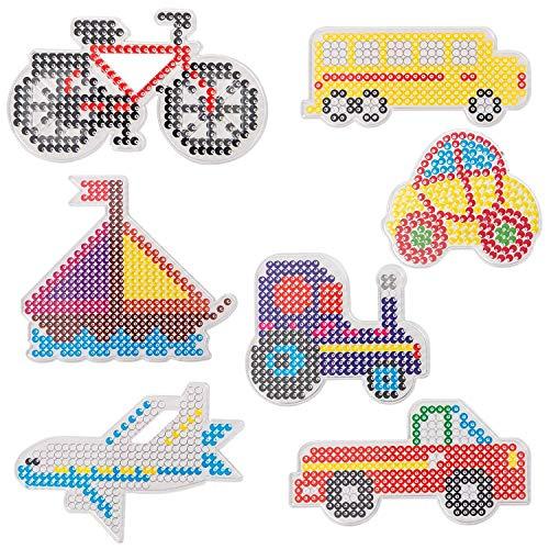 LIHAO 7X Bügelperlen Platten Stiftplatten Transparent Verkehrsmittel Steckplatten mit bunten Papiervorlagen (MEHRWEG)