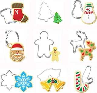 Christmas Cookie Cutter Set-9 Piece Stainless Steel Xmas Holidays Cookies Molds for Making Biscuits,Muffins, Sandwiches- Snowman,Christmas Tree,Santa Face,Gingerbread Men, Snowflake, Reindeer ect.