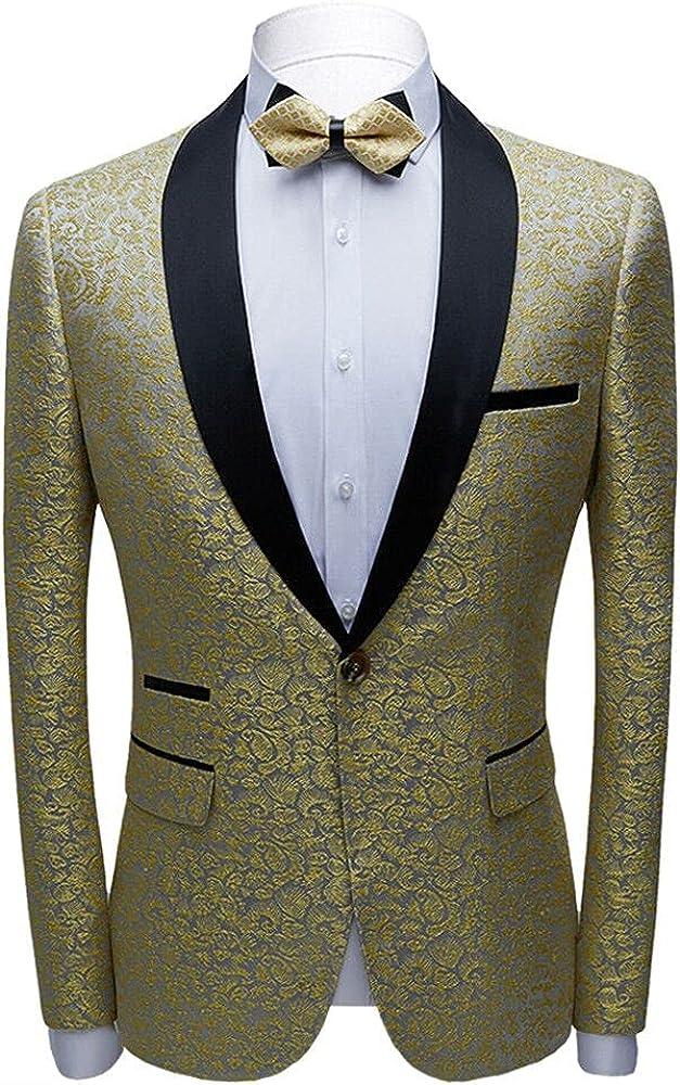 CARFFIV Men Pink Jacquard Suit Jacket Prom Fi Groom 2021 autumn and winter new Slim Wedding price