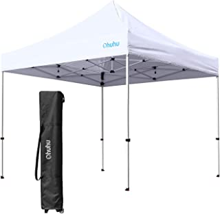 Ohuhu EZ Pop-Up Canopy Tent, 2019 Upgraded 10 X 10 FT Commercial Instant Shelter With 4 Adjustable Height & Wheeled Carrying Bag, White