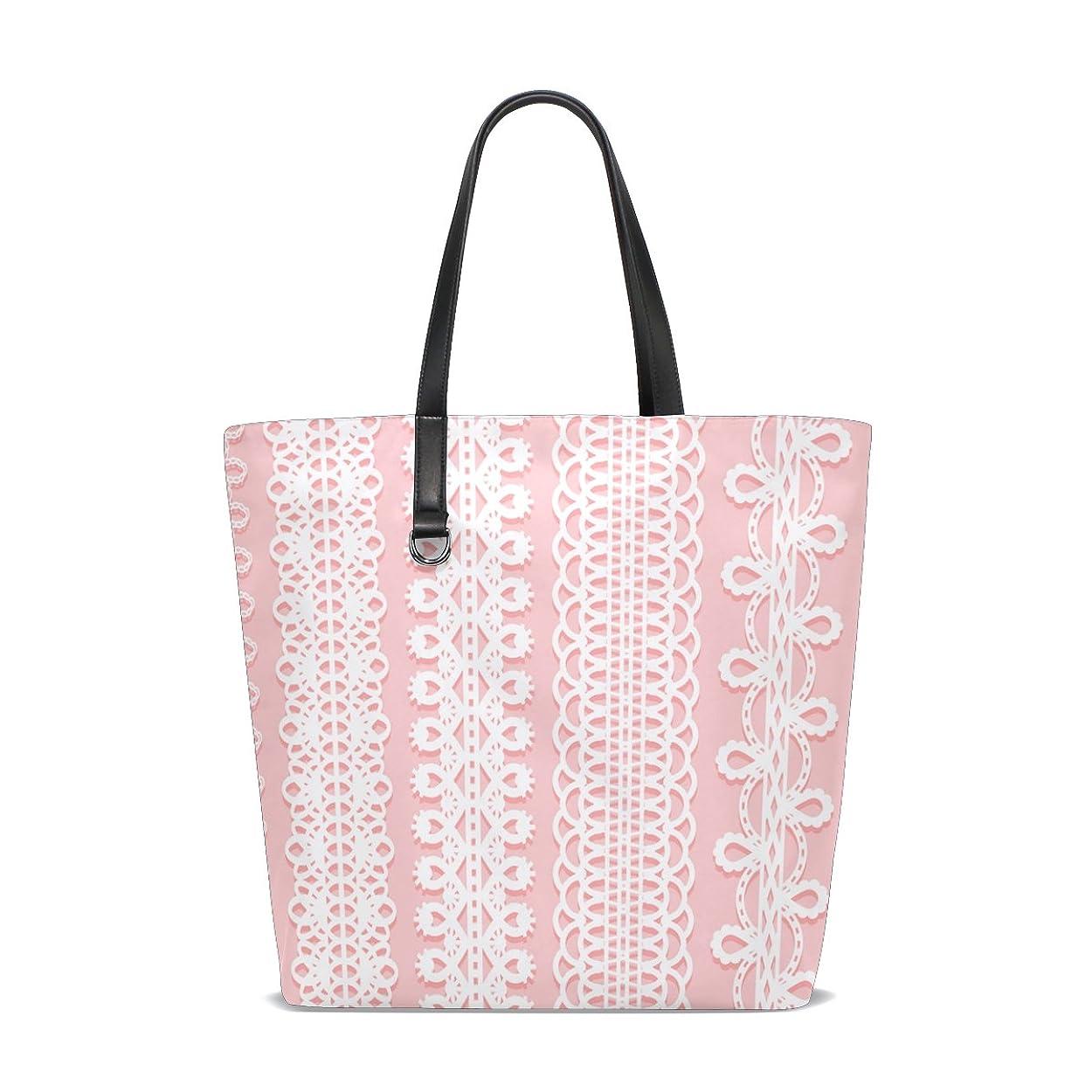 命題カタログ店員トートバッグ かばん ポリエステル+レザー  ワイドレースリボン柄 ピンク背景 両面使える 大容量 通勤通学 メンズ レディース