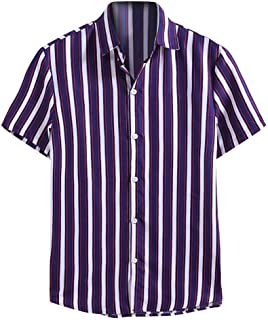 Men Summer Short Sleeve Tops, Male Fashion Striped Printed T-shirt Blouse Shirt Top