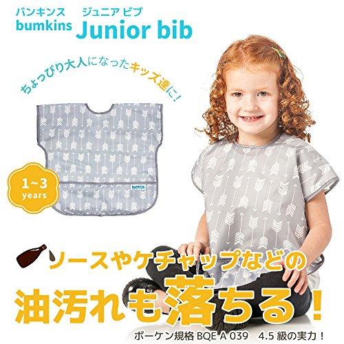 バンキンス 油が落ちるジュニアビブ 日本正規品 柔らかくて軽量 洗濯機で洗えてすぐ乾く お食事用防水ビブ 1~3歳 Arrow グレー U-106