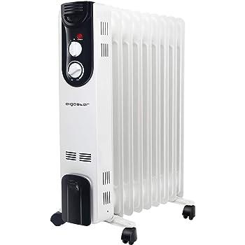 Aigostar 33LCJ - Radiatore ad di olio, 9 elementi, 2000W con riscaldamento a doppio tubo a U, tre impostazioni di calore e termostato intelligente, bianco e nero. Design esclusivo.