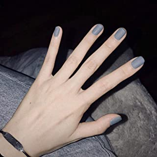 Olbye Matte Fake Nails Short Solid Blue Press on Nails Full Cover False Nails Square Head Artificial Nails for Women and G...
