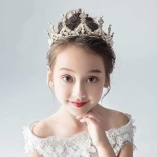 Campsis Princess Pearl Rhinestone Crown Flower Girl Headpiece Wedding Hair Accessories for Girls