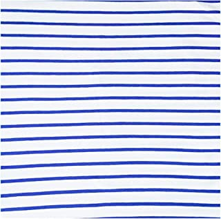 Cotton Spandex Single Jersey Fabric 9 oz Yarn Dyed Stripes 2 Way Stretch for T Shirt Pajama Skirt Tablecloth Dust Cover DIY Fabric (2 Yard Blue and White)