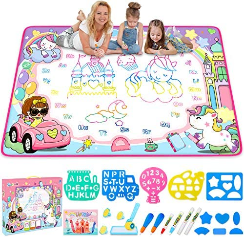 Water Drawing Mat Kids Painting Writing Doodle Board Toy Color Doodle Drawing Mat Bring Magic product image