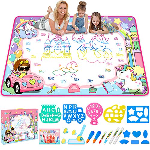 Water Doodle Mat- Kids Painting Writing Doodle Board Toy - Color Doodle Drawing Mat Bring Magic Pens Educational Toys for Age 3 4 5 6 7 8 9 10 11 12 Year Old Girls Boys Age Toddler Gift