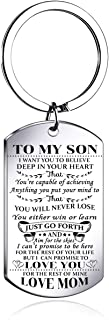 To My Son from MOM keychian I Want You To Believe Love Mom Dog Tag Military Air Force Navy Coast Guard keychian Ball Chain...