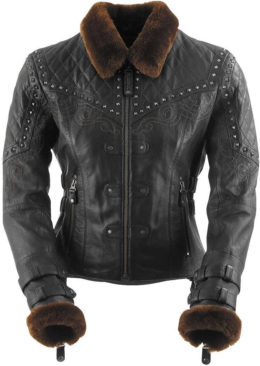 Black Brand Women's Leather Finally resale start Sheared Motorcycle safety Jacket Beaver