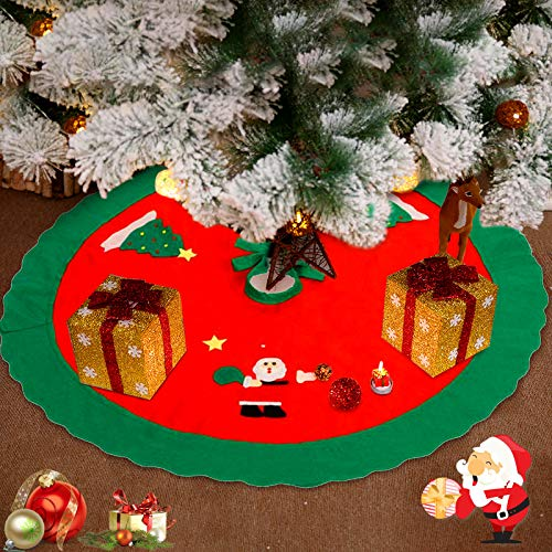 WELLXUNK Cache Pied Sapin de Noël,90 Cm Tapis de Sapin De Noël, Design Double Couche, Peluche, Blanc, Rond, Fourrure Synthétique, pour Noël Decoration Sapin Fête de Noël Décoration (Rouge 90)
