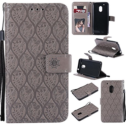 Guran PU Leather Wallet Case for Lenovo Moto G4 Play (5.0 inch) Smartphone Flip Cover with Card Slots and Stand Function Retro Rattan Case - Gray