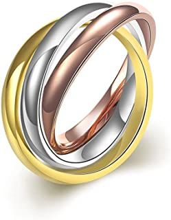 PAMTIER Women's 316l Stainless Steel Gold Silver Rose Triple Band متشابك متدحرج