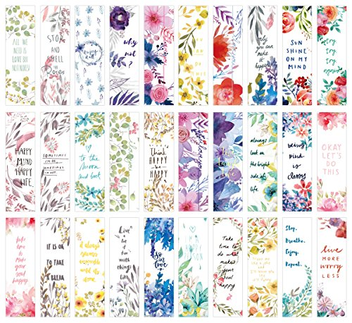 Flower Poetry Theme Colorful Bookmarks, 30 PCS (Flower Poetry)