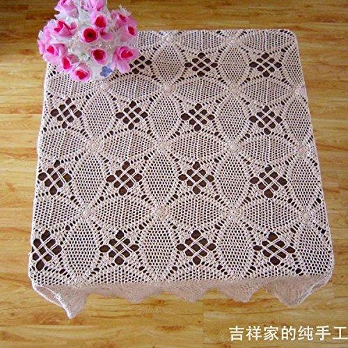 BLUELSS Baumwolle häkeln dimond Tischdecke Handarbeit Häkeln tischdecke Square - Fashion ausschnitt Tischdecke aus Baumwolle beige Weiß