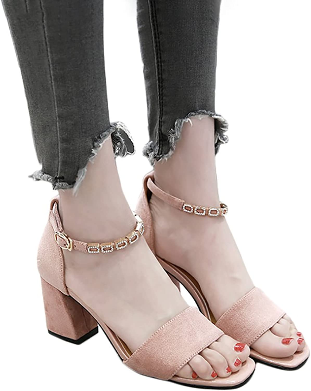 Summer Women's Student Roman shoes Ankle Strap Sandals High Heels ( color   Pink , Size   36 )
