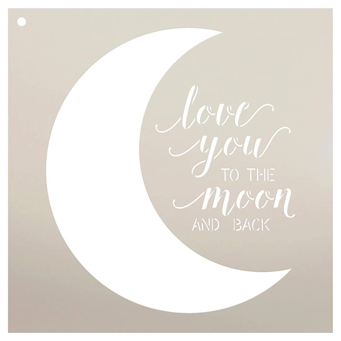 Love You to The Moon and Back Stencil by StudioR12 | Reusable Mylar Template | Use to Paint Wood Signs - Pallets - Pillows - DIY Family & Love Decor - Select Size (12