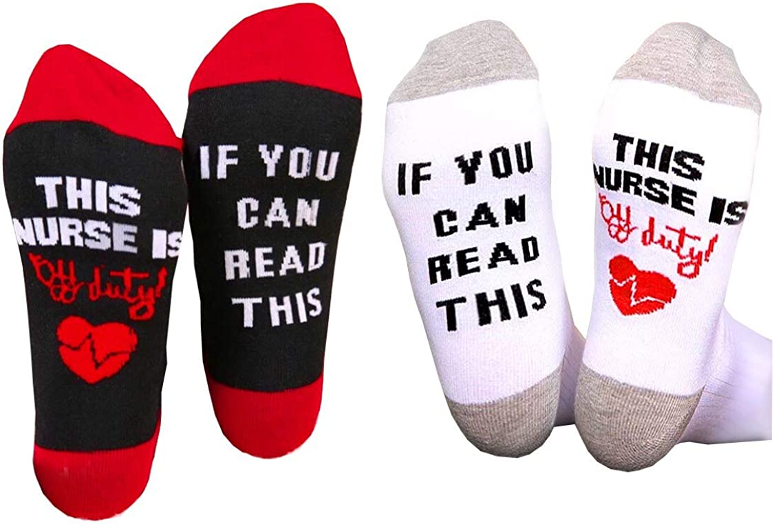 IF YOU NEW CAN READ THIS NURSE IS Pairs Industry No. 1 DUTY Socks 2 OFF Nurse