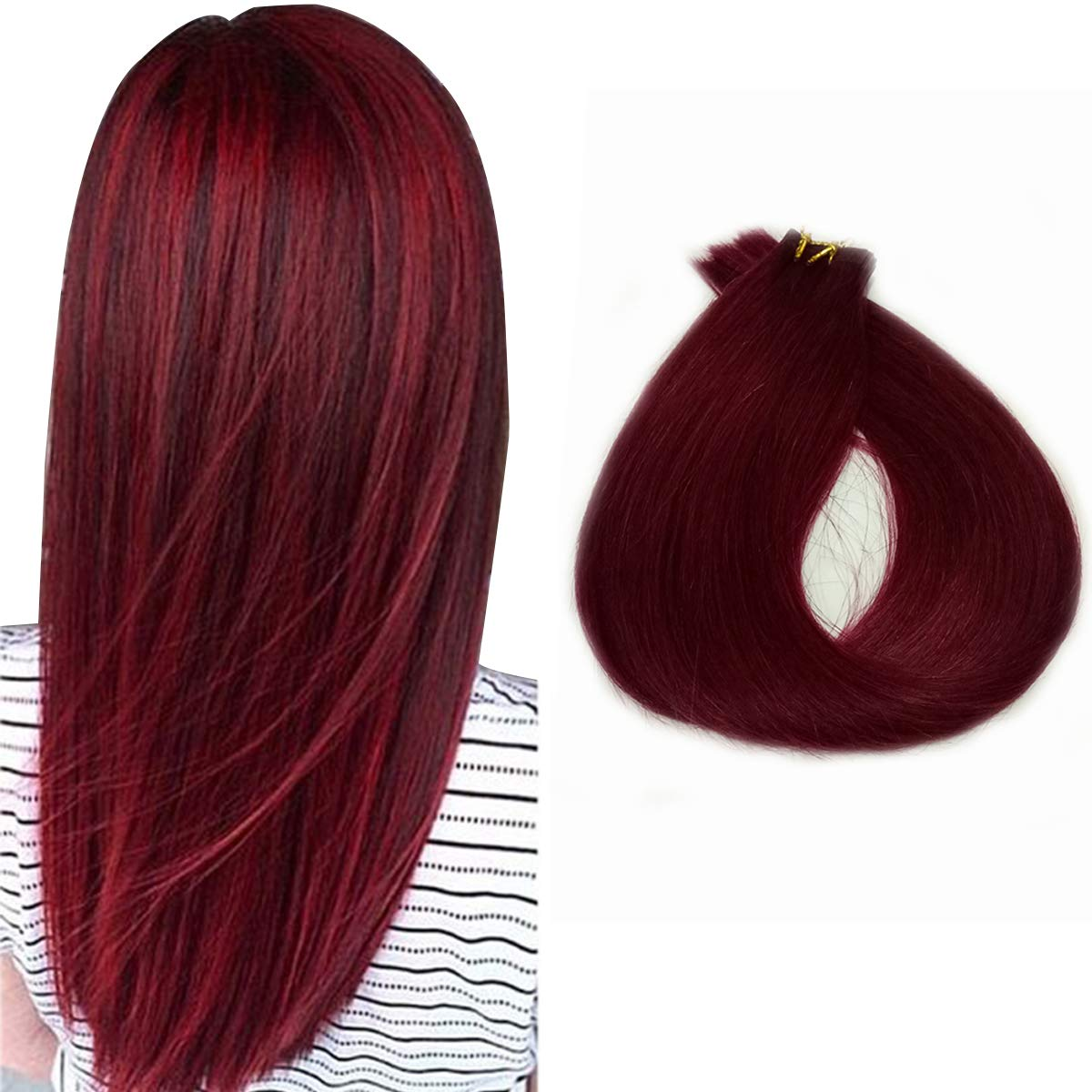 Human Hair Discount mail order Extensions Tape in 20 Pieces Burgundy Remy Indefinitely Inch