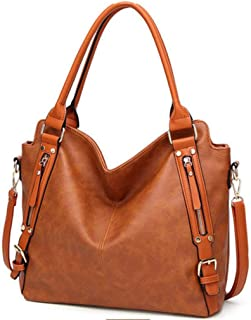 Women's square bag, pu handbag, must-have shoulder bag out of the street, large-capacity crossbody bag, adjustable shoulder strap, a variety of colors (Color : Brown, Size : One size)
