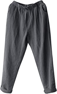 Plus Size 5XL Harem Pants Linen Vintage Trousers Women Streetwear Pockets Loose Pants